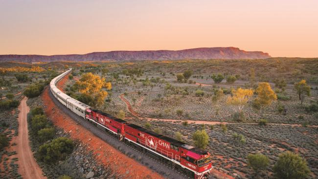 Ghan heading north to Alice Springs at Sunset