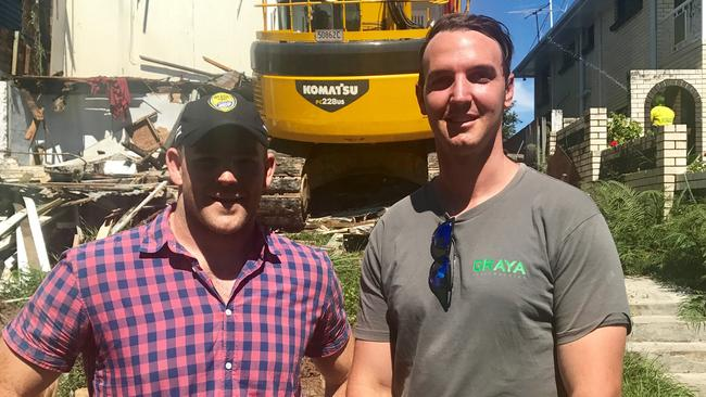 Stephen Moore and Rob Gray of Graya Construction on the site of Moore's new home. Pic supplied.
