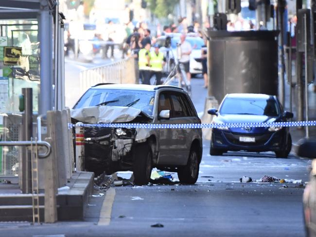 The vehicle was stopped when it crashed into a bollard. Picture: Joe Castro/AAP