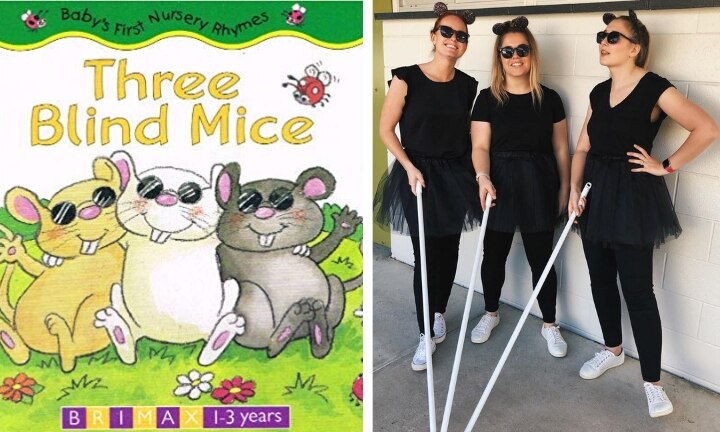 <b>THREE BLIND MICE.</b>  From left to right, we have three blind mice, Hayley, Christie and Amy. They've sorted their mouse costumes with simple black clothes, sunnies, some cute little ears and a few broom handles. Love seeing the teachers getting their Book Week on!