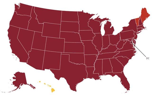 """How COVID Exit Strategy currently classes each state. Dark red is the worst category, """"uncontrolled spread"""". Picture: COVID Exit Strategy"""