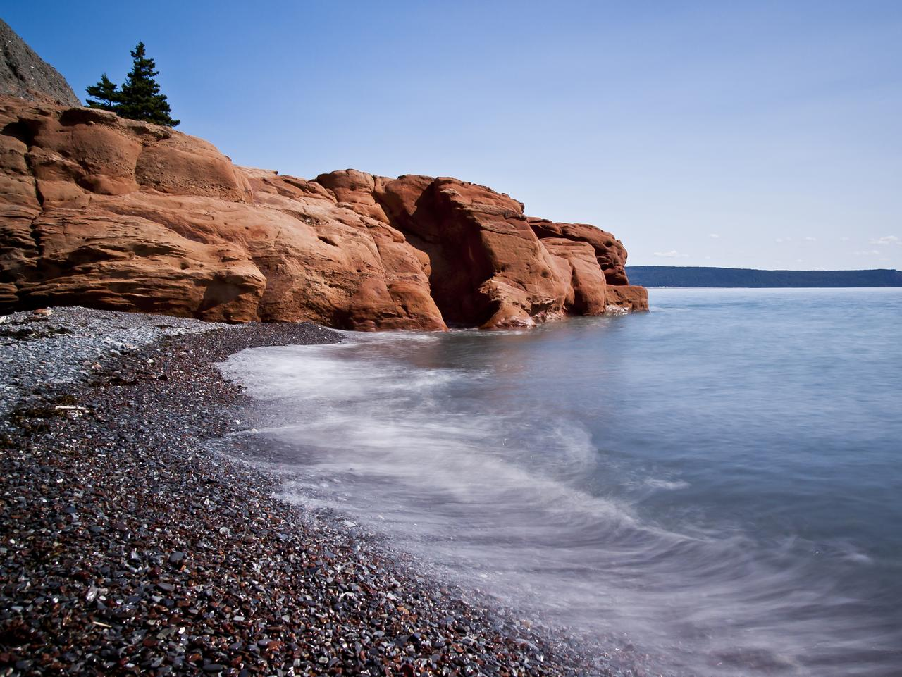 Cape Chignecto's red rock beach using 10 stop nd