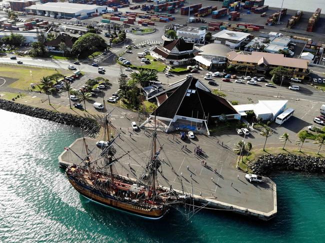 The voyage or the HMB Endeavour from Noumea in New Calendonia to Sydney, Australia. The Endeavour will circumnavigate Australia in the year 2020 in honour of the 250th anniversary of Captain James Cook discovering Australia. Drone photo of the Endeavour docked in Noumea. Picture: Toby Zerna