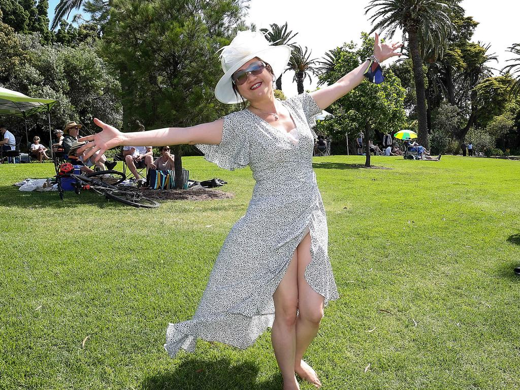 One Melburnian was just happy to be out of lockdown and in the sunshine on Cup Day. Picture: Ian Currie/NCA NewsWire