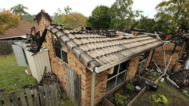 The aftermath of a fire in Mercator Court, Carrara. Picture: Glenn Hampson.