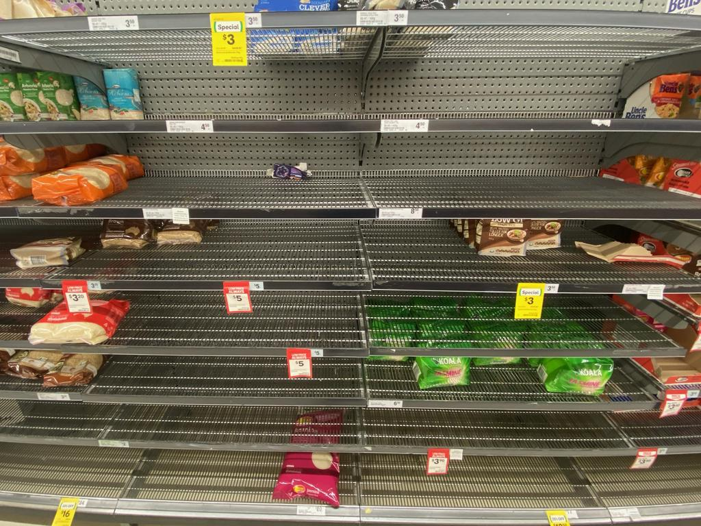 The shelves of many supermarkets in Brisbane are running low on toilet paper, tissues and hand sanitisers due to panic buying caused by the coronavirus. Picture: Richard Goslingg