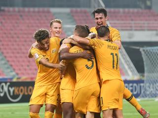 The Olyroos celebrate reaching the Olympics.