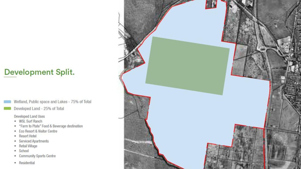 The proposed development split for a Surf Ranch and associated tourism, commercial and residential developments on a 510ha site in Coolum. Green represents developed land (25 per cent of total) and blue represents wetland, public space and lakes (75 per cent of total).