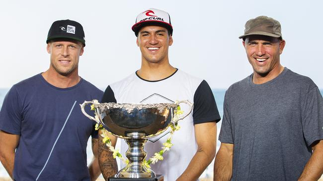 World surfing title contenders Mick Fanning, Gabriel Medina and Kelly Slater.