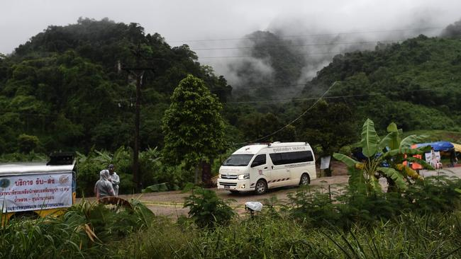 An ambulance leaves the Tham Luang cave area as rescue operations continue for those still trapped inside the cave in Khun Nam Nang Non Forest Park in the Mae Sai district of Chiang Rai province on July 10, 2018. Picture: Ye Aung Thu/AFP