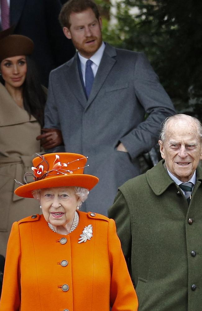 2017: (L-R) then fiancee of Britain's Prince Harry Meghan Markle, Queen Elizabeth II, Prince Harry, and Prince Philip, Duke of Edinburgh leave after attending the Royal Family's traditional Christmas Day church service at St Mary Magdalene Church in Sandringham. Picture: Adrian Dennis