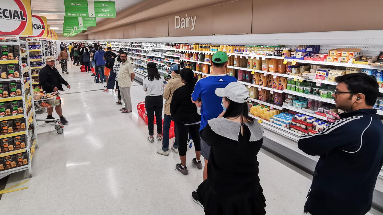 Shoppers are now buying up cake mix and cleaning supplies during isolation. Picture: AP.