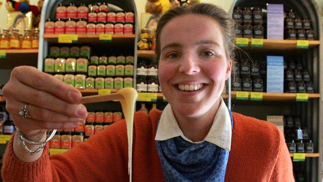 Fanny Beerepoot with some samples of honey at the family business at Chudleigh.