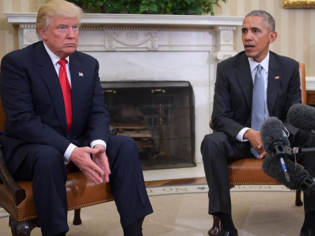 Former US President Barack Obama and Donald Trump. Picture: AFP