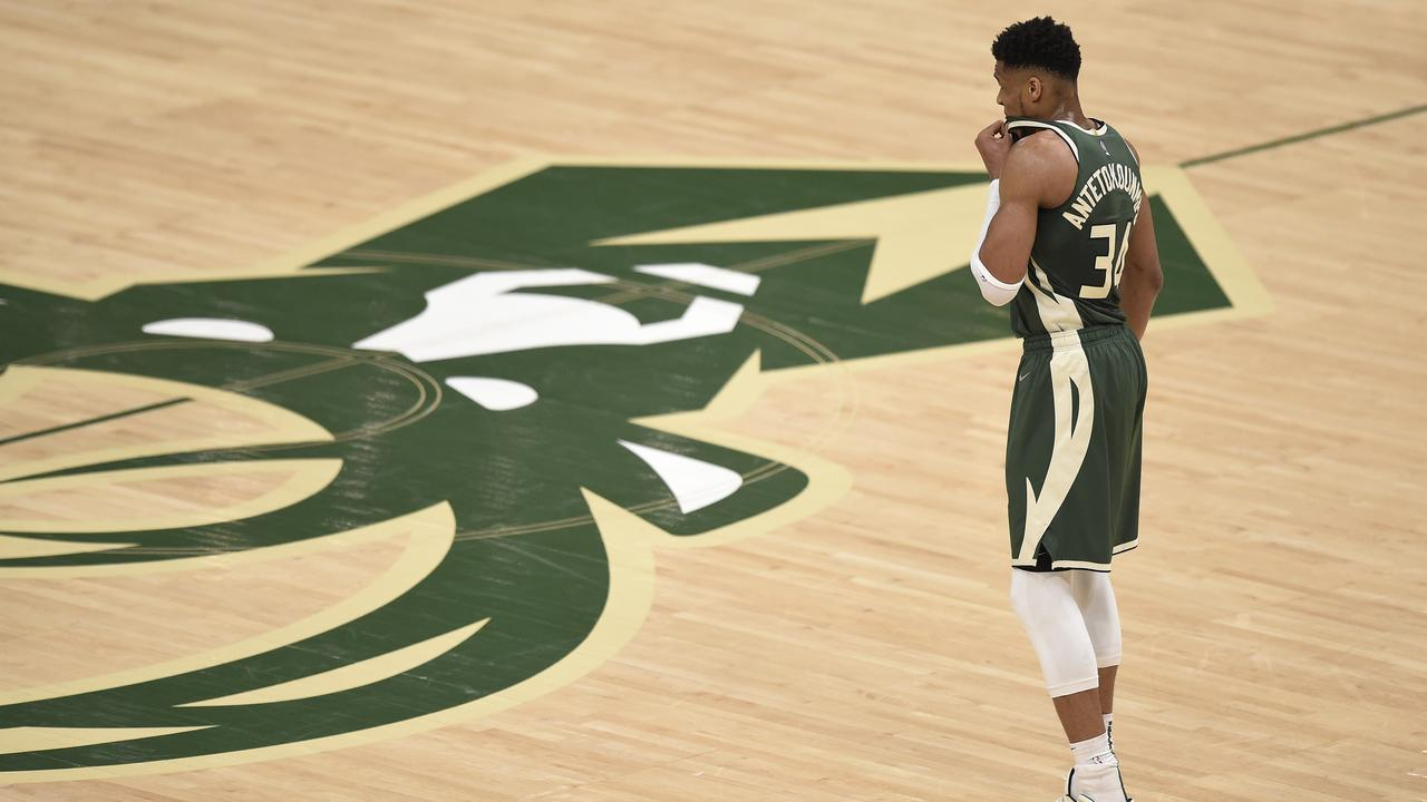 MILWAUKEE, WISCONSIN - JUNE 23: Giannis Antetokounmpo #34 of the Milwaukee Bucks looks on against the Atlanta Hawks during the second quarter in game one of the Eastern Conference Finals at Fiserv Forum on June 23, 2021 in Milwaukee, Wisconsin. (Photo by Patrick McDermott/Getty Images)