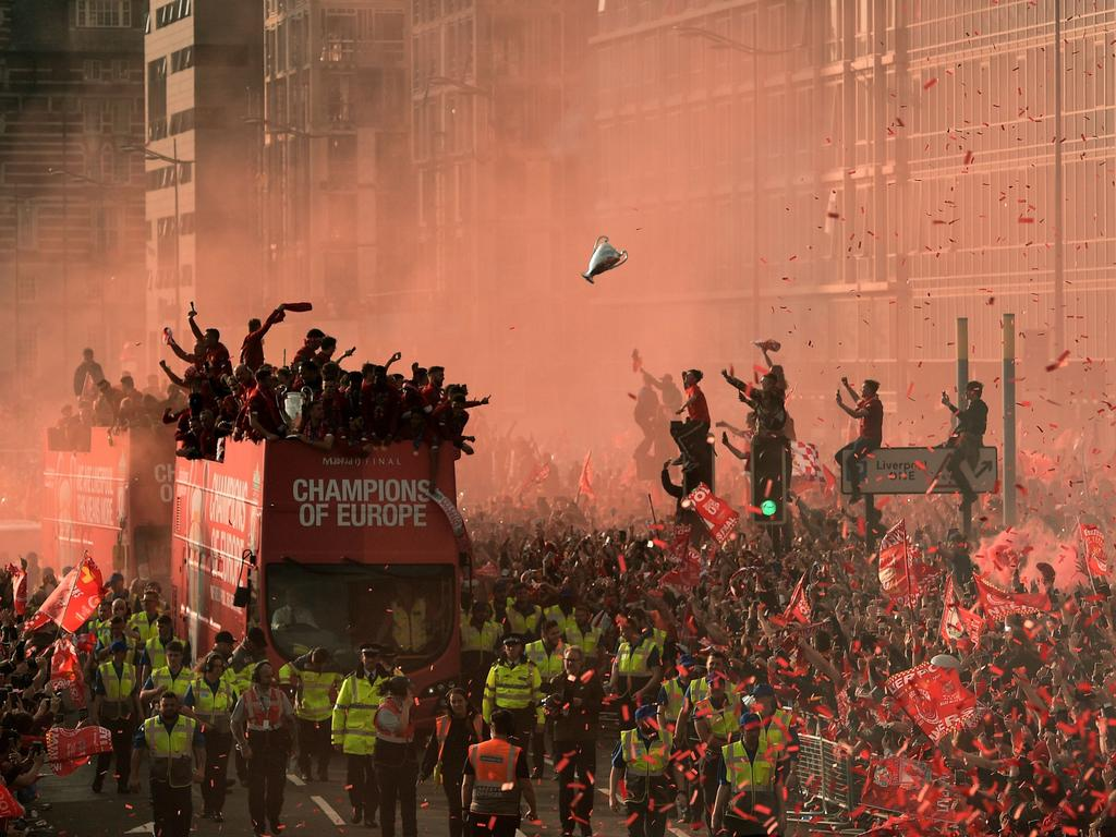 Third prize, in the Sports-Singles category: Football fans line the streets to see the Liverpool football team after winning the UEFA Champions League final. Picture: Oli Scarff/AFP