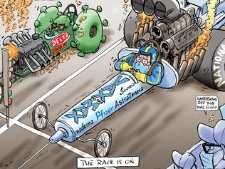 Mark Knight cartoon - Race to get Australia vaccinated for Herald Sun 6th Sept 2021