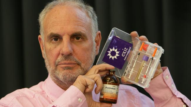 """Euthanasia advocate ... Dr Philip Nitschke pictured with a Euthanasia Drug Test Kit and an empty bottle of """"Pentomax"""" known also known as Nembutal"""