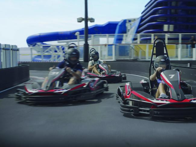 GO-KART RACETRACK Families on board Norwegian Cruise Line's Norwegian Joy or Norwegian Bliss should head directly to the top deck to check out the new go-kart racetrack, the longest racetrack at sea. The two-level electric track has four different speed settings — with the top speed being 48km/hour — so that learner youngsters to petrolheads are all catered to.