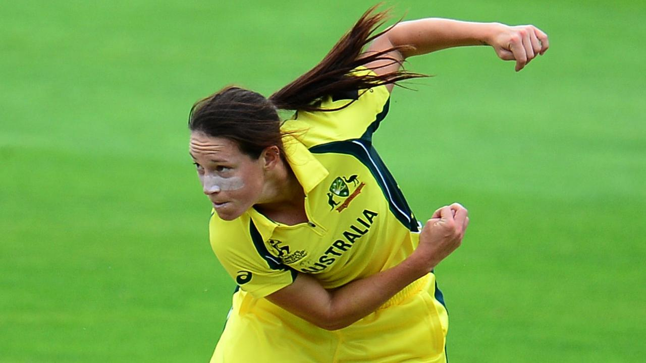 Megan Schutt bowls for Australia against the West Indies in their ICC Women's World Cup match in England in 2017.