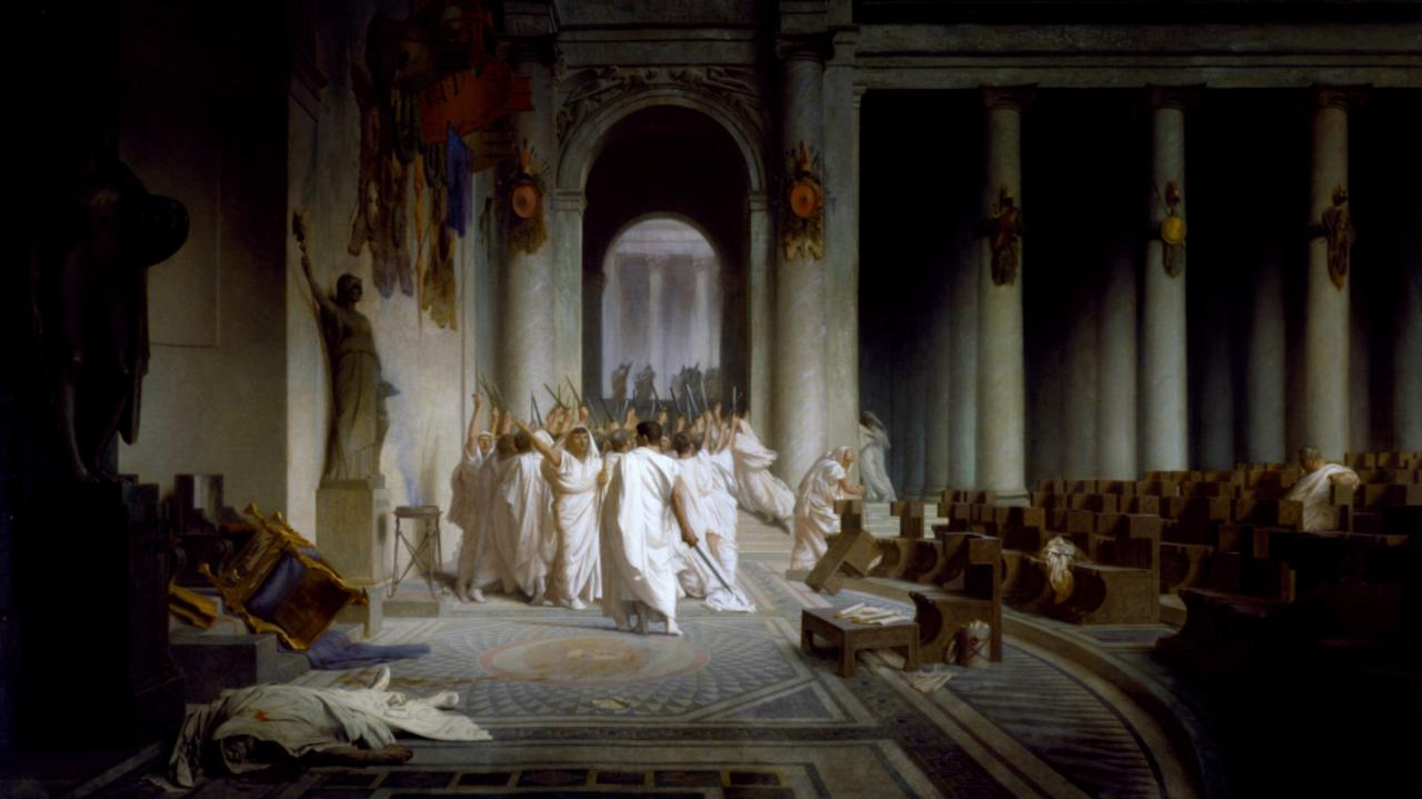 The aftermath of Caesar's assassination, with the dictator's body seen abandoned in the foreground, as depicted by Jean Léon Gérôme. Picture: Walters Art Museum/Wikimedia Commons