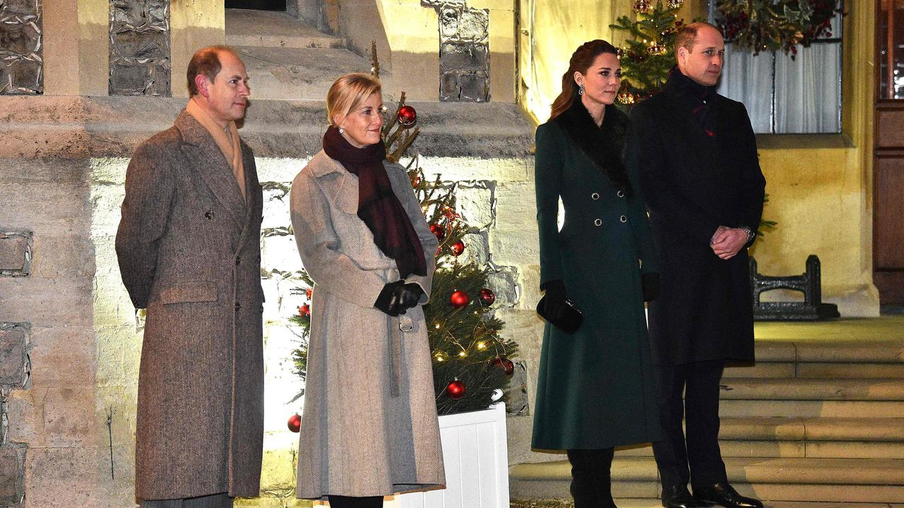 Poor Prince Edward Earl of Wessex and Sophie Countess of Wessex were even cut out of the main shot, with Princess Anne lurking on the other side of Camilla, too. Picture: Glyn KIRK / various sources / AFP.