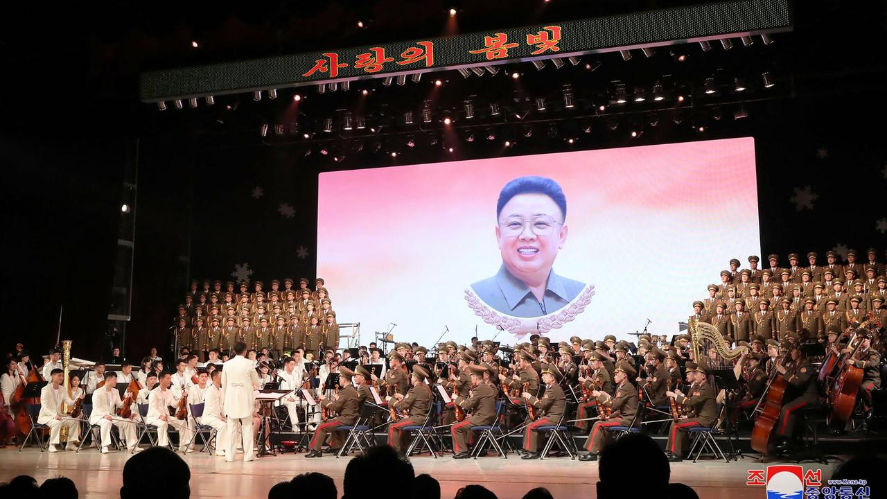 The performance celebrated the birth anniversary of Kim Jong-il at the Mansudae Art Theatre in Pyongyang. Picture: STR/AFP