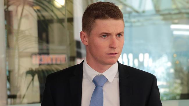 Jockey James McDonald leaves the stewards inquiry on Thursday.