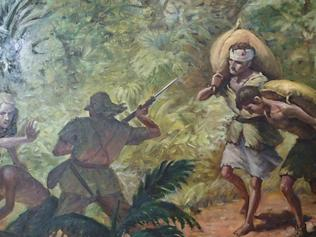 An incident on the Sandakan Death March. From a painting at Borneo's Kundasang War Memorial, courtesy of Lynette Silver.