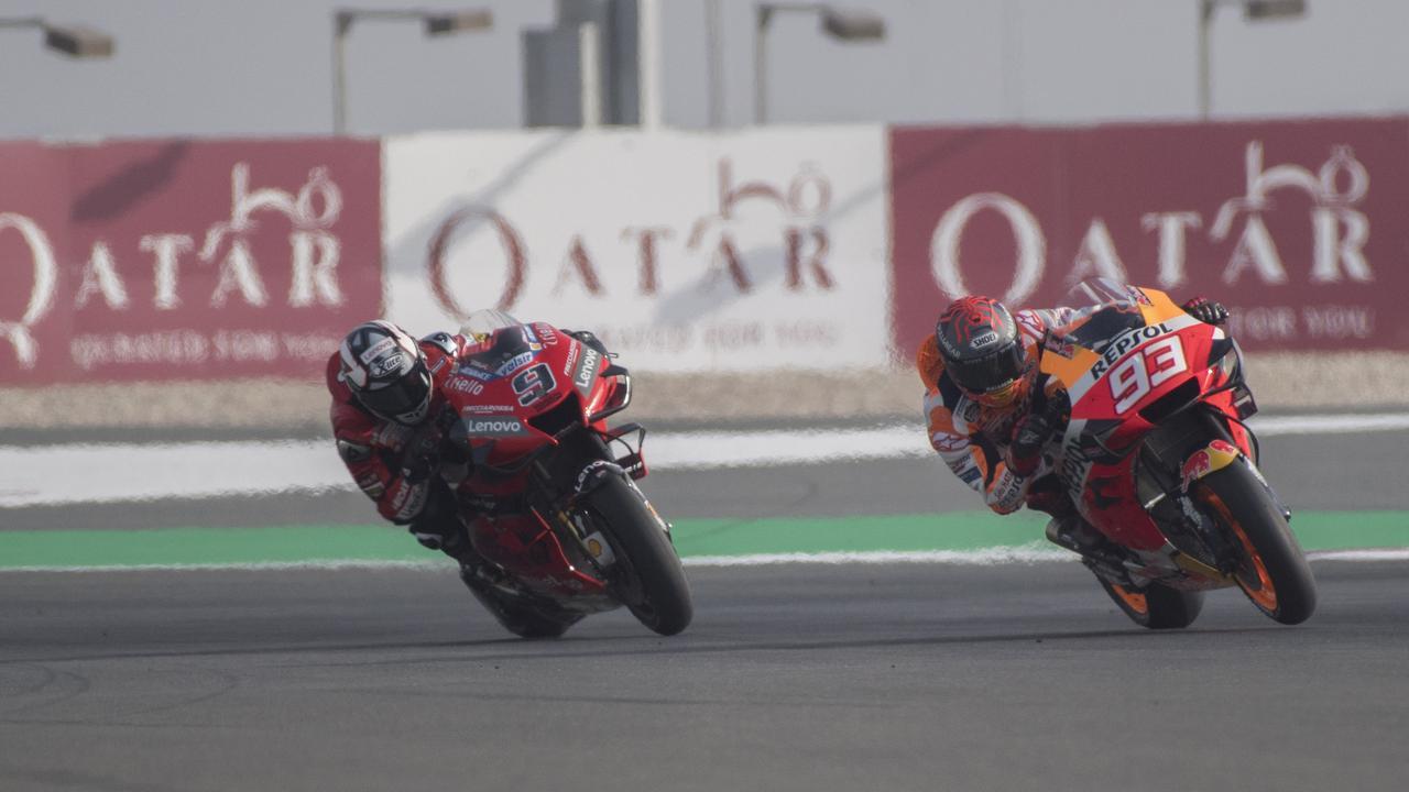 Marc Marquez and Danilo Petrucci testing at Qatar last week.