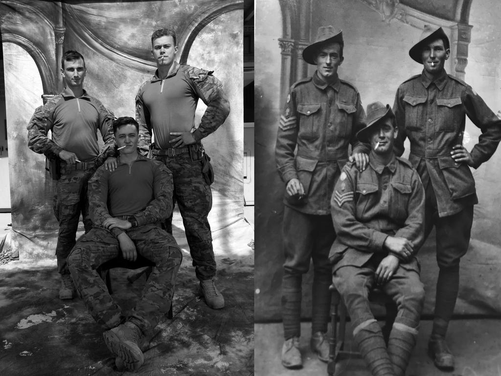 Left side photo L-R: PTE Jack Cassidy with PTE Mark Braithwaite and sitting is LCPL Max Menner. They're from 3RAR in Townsville QLD. Picture: Gary Ramage The photograph on the right is an original taken in France during WW1 of Aussie Diggers.