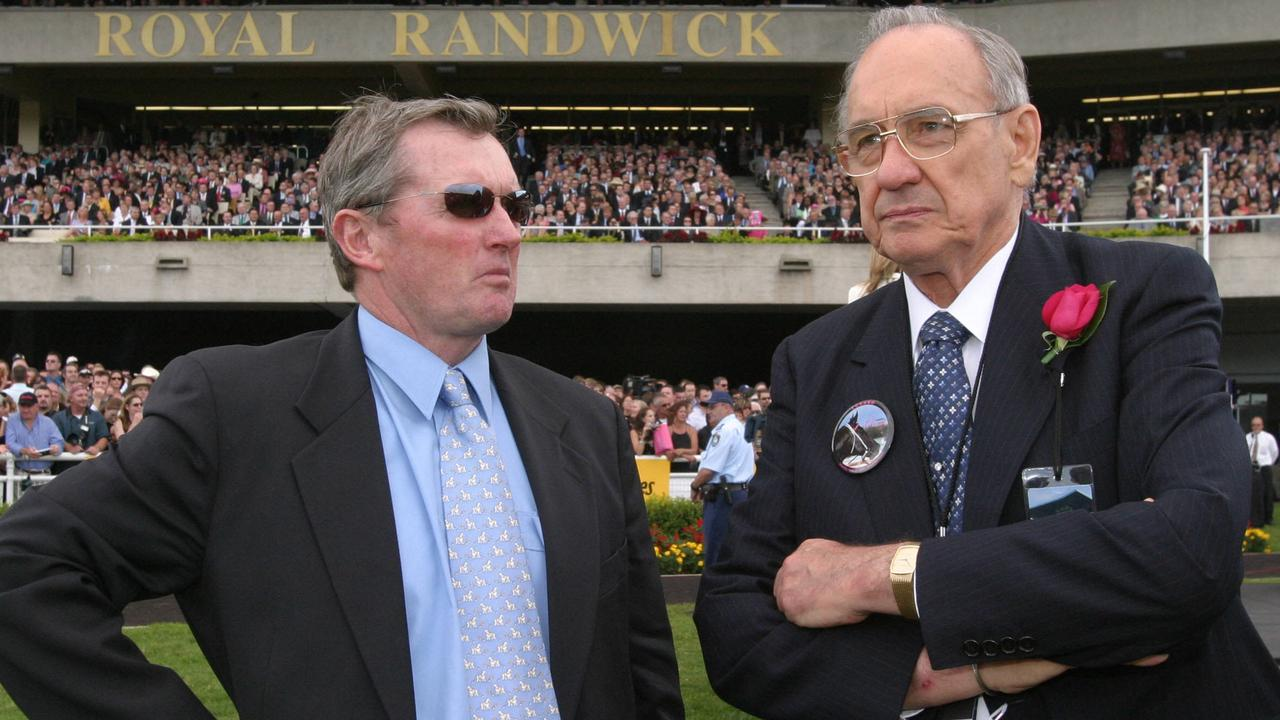 Racehorse trainer John Hawkes (l) with owner of racehorse Lonhro, Bob Ingham at Randwick 17 Apr 2004.