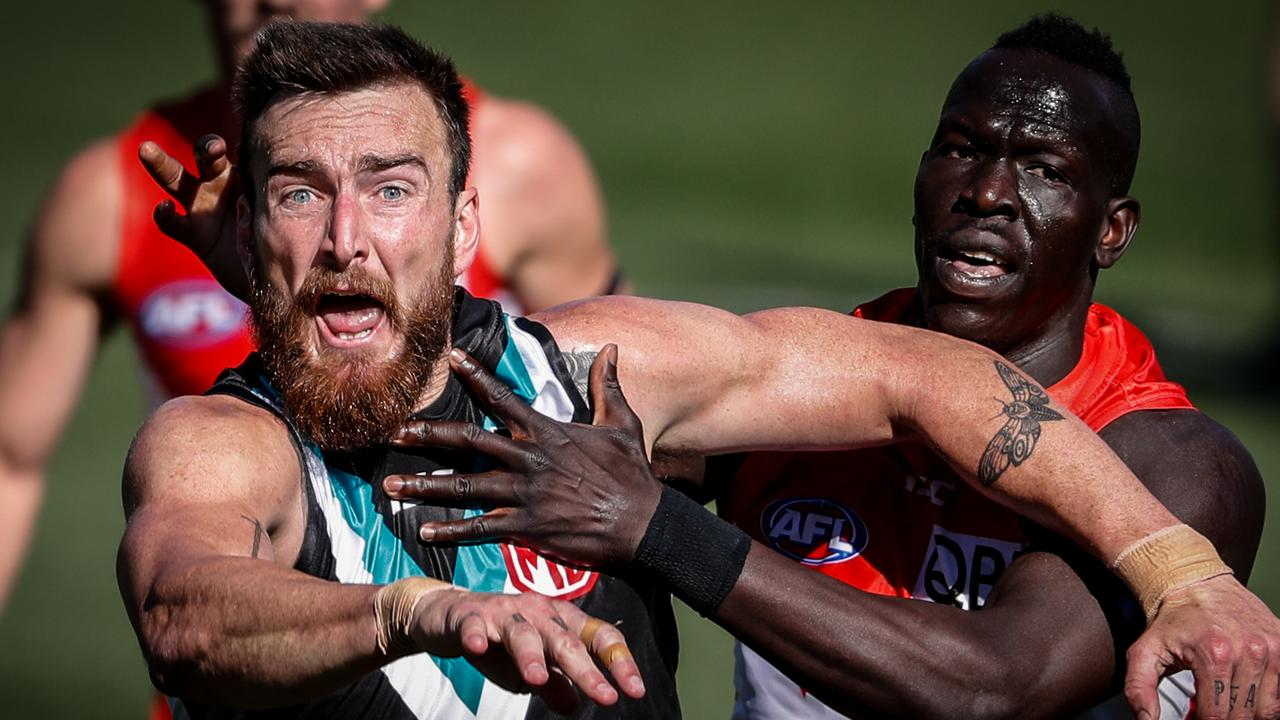 Aliir Aliir will join Charlie Dixon at Port Adelaide. (Photo by Matt Turner/AFL Photos via Getty Images).
