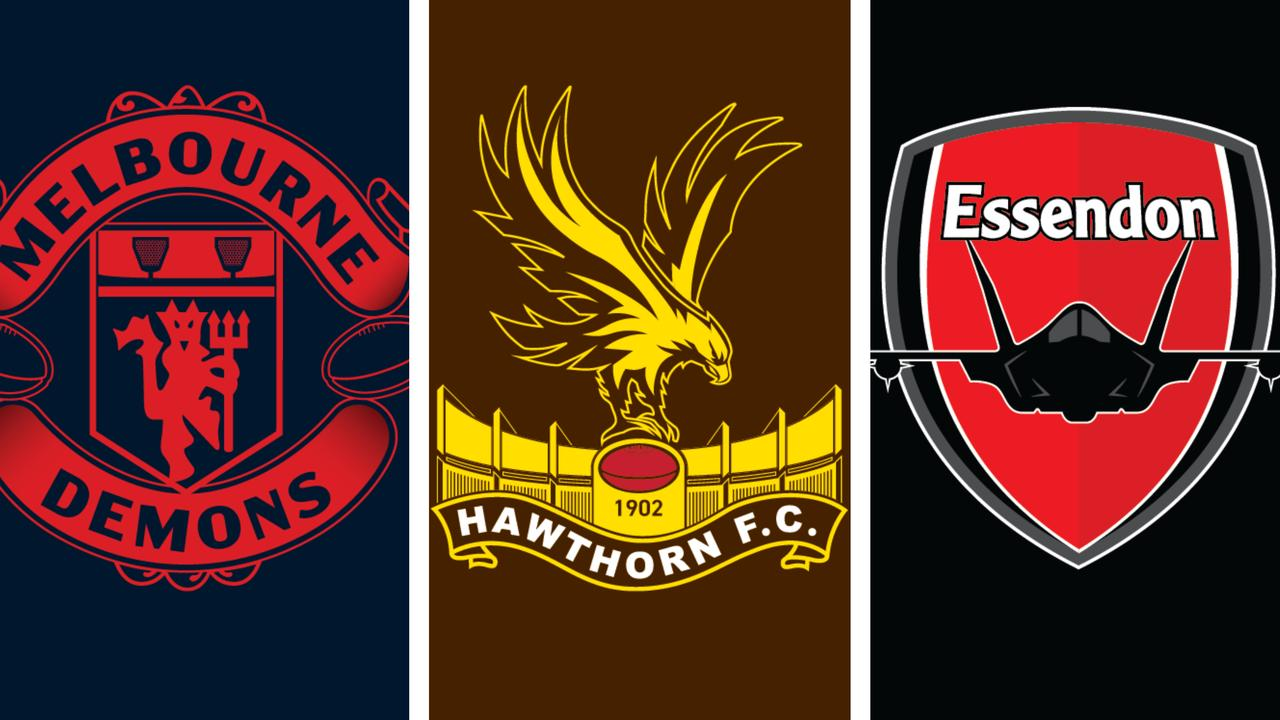 Sports fan and graphic designer Joey Whiting has created a new awesome set of logos, this time mixing the AFL and English Premier League.