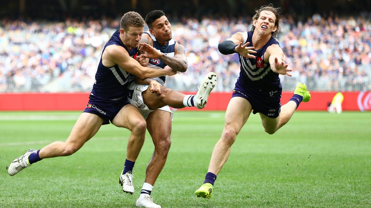 Nat Fyfe and Sam Switkowski will be hoping Tim Kelly will be on the same Fremantle side next year.
