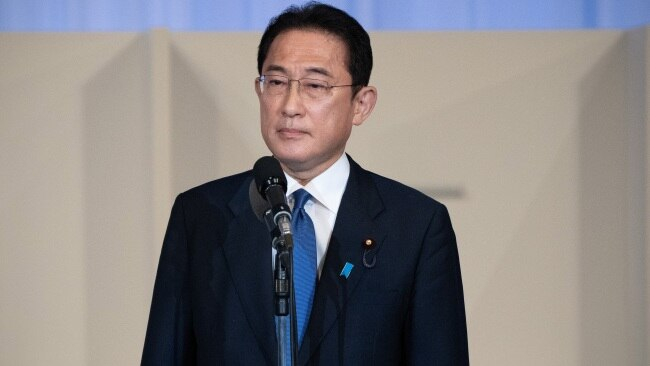 Former Japanese Foreign Minister Fumio Kishida speaks after being announced the winner of the Liberal Democrat Party leadership election. Picture: Carl Court/Getty Images