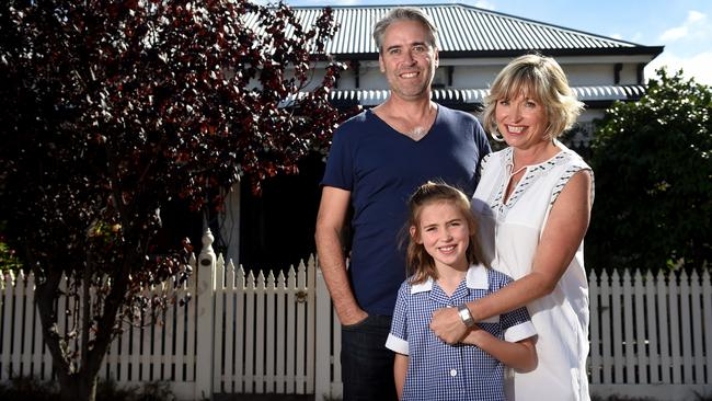 Jason Kidger, wife Helene and daughter Zoe at their Middle Park home.