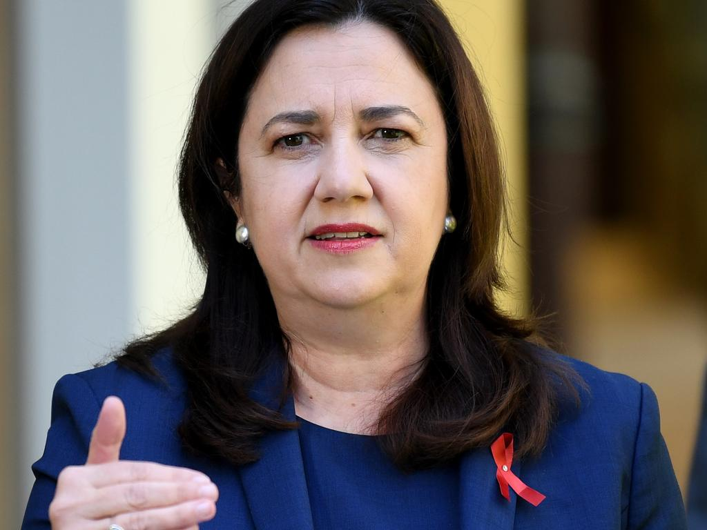 Queensland Premier Annastacia Palaszczuk delivers the border update on Friday. Picture: NCA NewsWire / Dan Peled