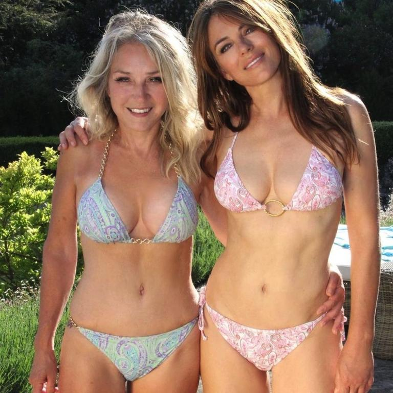 Liz Hurley, 55, and sister Kate, 57, were all smiles as they promoted the model's bikini range. Picture: Instagram