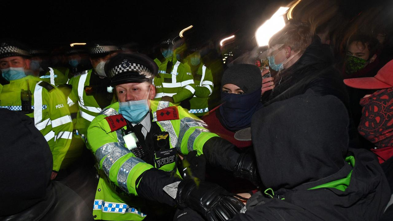 Officers' handling of the vigil has been slammed by critics including the mayor of London. Picture: Justin Tallis/AFP