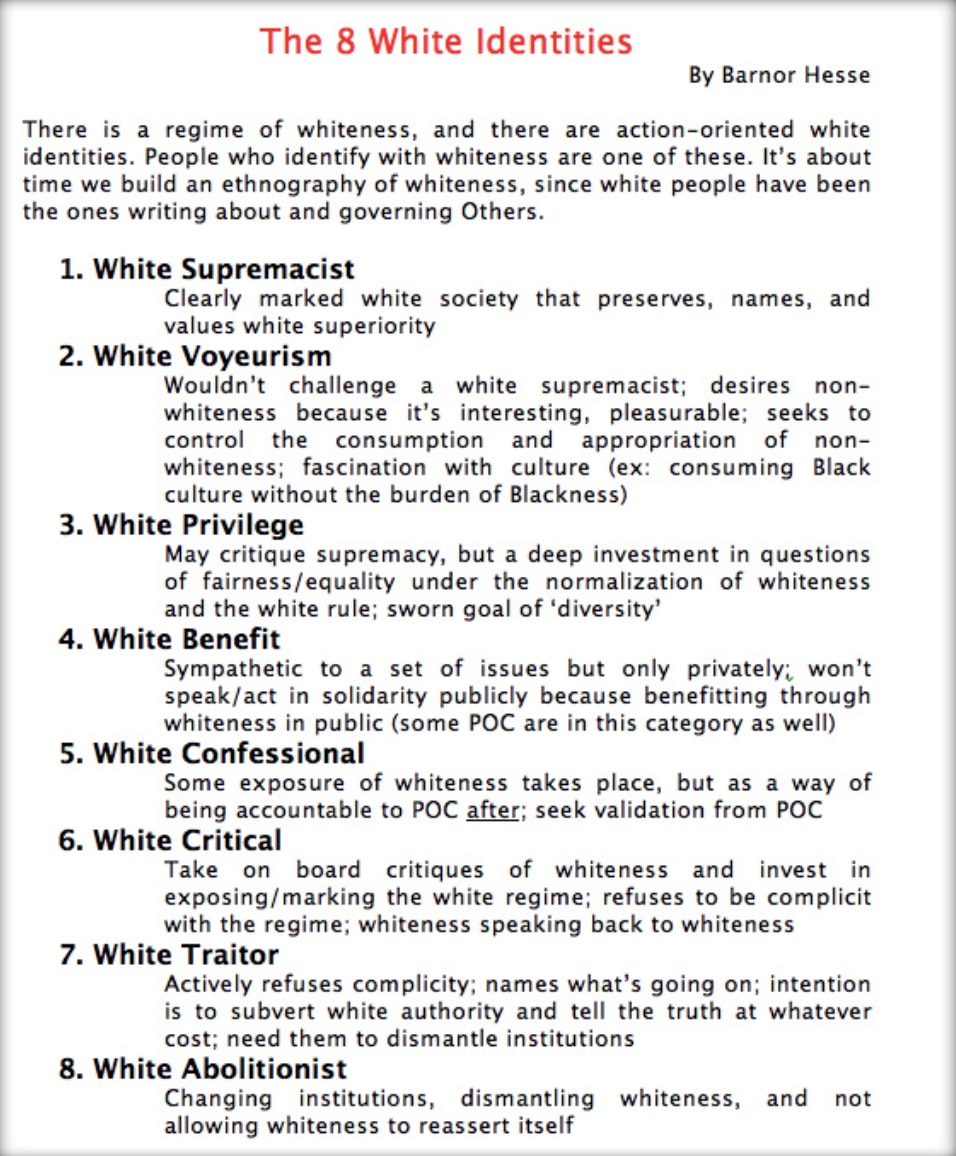 """The dossier outlines the """"eight different categories"""" white people supposedly fall under."""