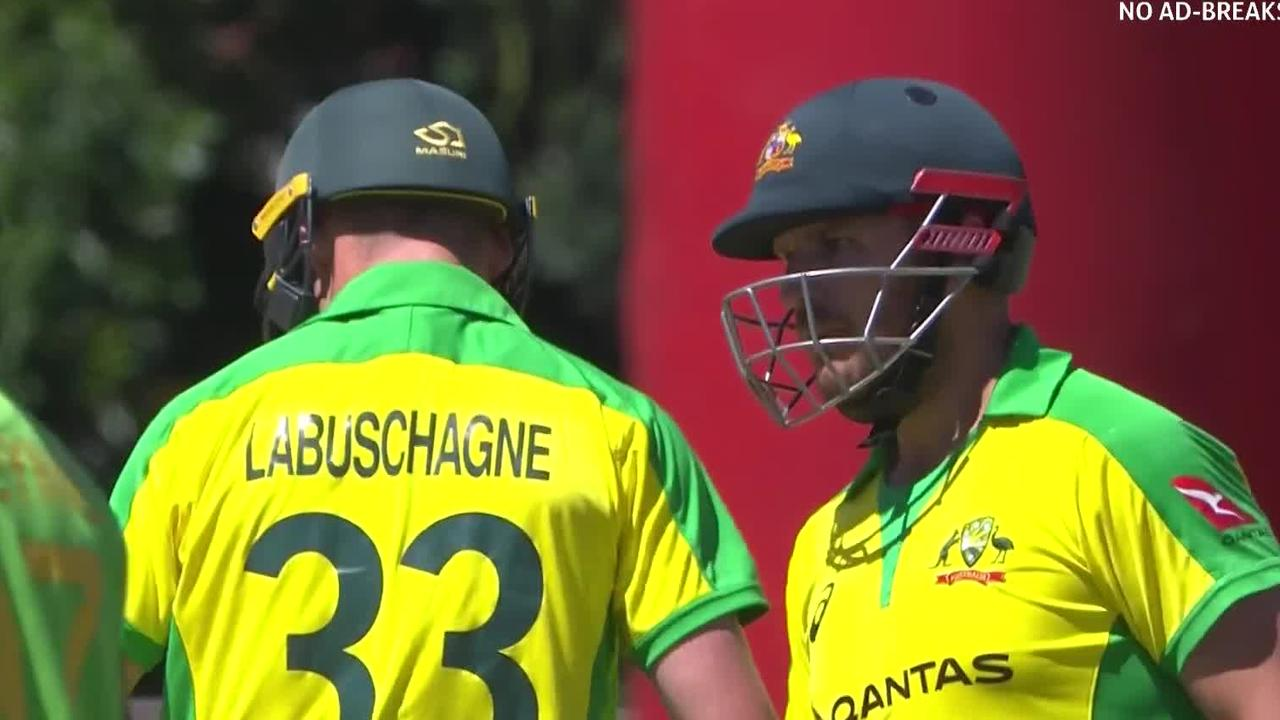 Aaron Finch laid down the law to Marnus Labuschagne.