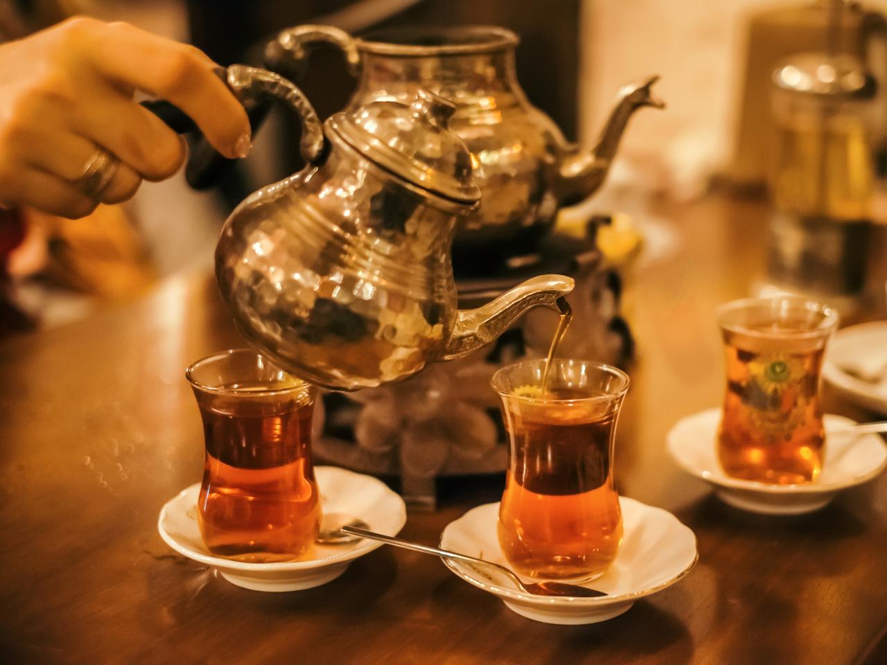 Traditional turkish tea ceremony in cafe