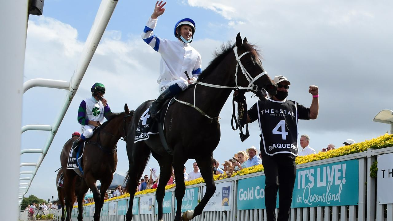 Hugh Bowman returns on Shaquero after winning the Magic Millions 2YO Classic. Picture: Trackside Photography