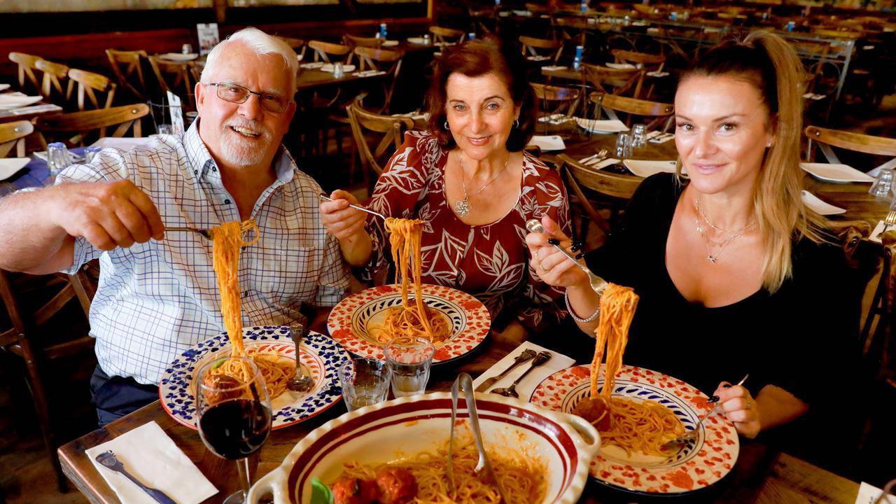 Cosmo, Rosa and daughter Kathy Criniti at Criniti's in Parramatta. Picture: Angelo Velardo/AAP