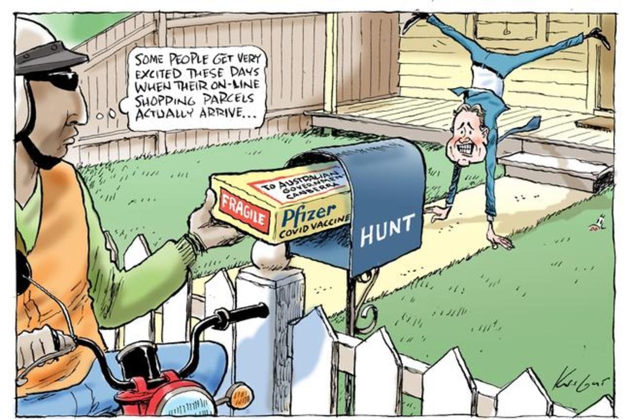 Mark Knight's Pfizer vaccine cartoon.