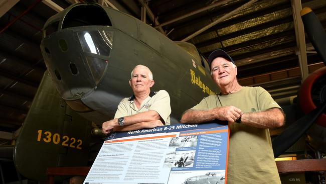 """<s1>Darwin's Bill Allom and Ian Lamb recently discovered their fathers flew together in battle</s1>                         <ld pattern="""" """"/>                         <source>. Picture: JUSTIN KENNEDY</source>                                               <source/>"""