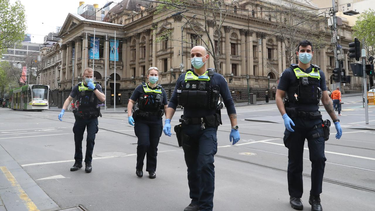 Police were out in force in the city on Friday. Picture: NCA NewsWire/David Crosling