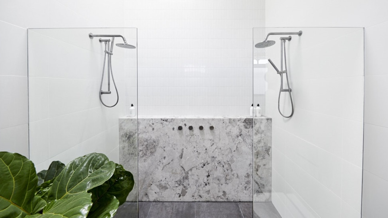 Their double shower had a marble feature to complete its luxury look. Picture: The Block