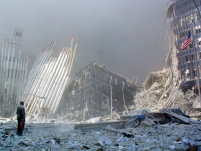 A view of the destruction left by terrorists.